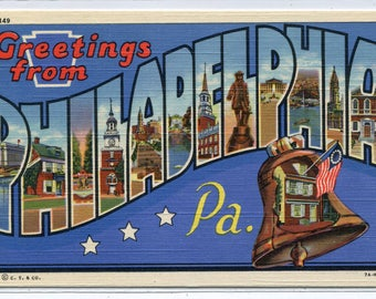 Greetings From Philadelphia Pennsylvania Large Letter Linen postcard