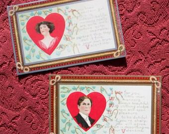 Pair Vtg Penny Valentine Post Cards