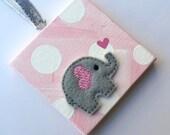 Mini canvas felt elephant ornament