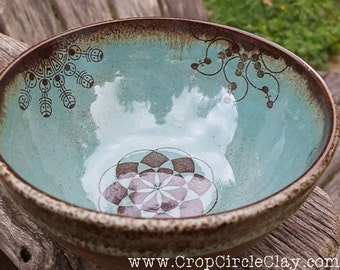 Crop Circle pottery French Coffee Bowl wheel thrown handmade pottery ceramic free spirit Rustic Earthy pottery brown blue Snack bowl Cereal