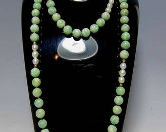 """Genuine Apple Green Jadeite Jade & Pearl,Solid Gold Beads Necklace ,31.5 """" Long"""
