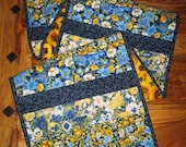 Blue Yellow Flowers Spring Summer Table Runner, 100% Cotton Fabrics, Reversible, 14 x 70""