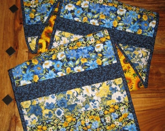 "Quilted Table Runner, Blue Yellow Flowers Spring Summer Table Runner, 100% Cotton Fabrics, Reversible, 13.5 x 64"" Handmade Free Shipping"