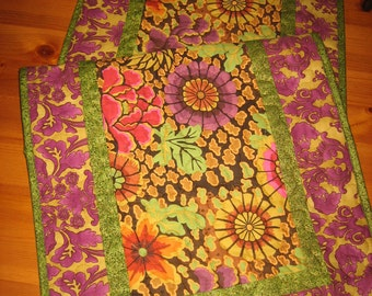 Quilted Table Runner, Kaffe Fassett Plum Green Gold Pink, Reversible Runner Fall tones, 17 x 48 Handmade Free Shipping