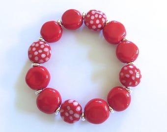Red and White Beaded Bracelet, Kazuri Bangle, Fair Trade, Ceramic Jewellery, Red Bangle
