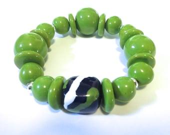 Kazuri Bangle, Green and Blue Ceramic Bracelet