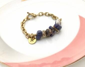 Stone Bracelet, Raw Stone Bracelet, Boho Bracelet, Initial Bracelet, Hand Stamped Bracelet, Gift Ideas, Friendship Bracelet