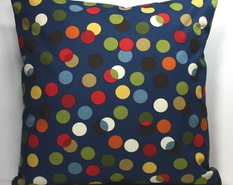 16 x 16 Inch OR 18 x 18 Inch Decorative Throw Pillow Cover - Mulit-Colored Dots on Navy Blue - Invisible Zipper Closure
