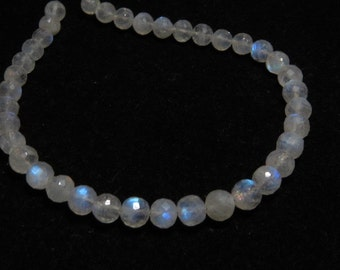 Rainbow Moonstone - AAA - High Quality - So Gorgeous Micro Cut Round Ball Beads Nice Blue Flashy Fire size 5 - 6 mm 8 inches  - 36 pcs