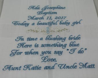 Baptism - Christening - Embroidered Handkerchief - Baptism Gift - Christening Gift - Simply Sweet Hankies