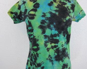 Tie dye T-shirt Womens Size XL Bright Green Turquoise and Black Rorschach