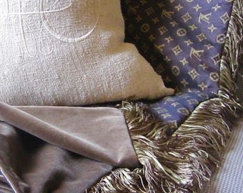 "NEW ITEM Louis VUITTON Style Throw 50"" x 60"" Brown Velvet with Italian Fringe Stunning and Only Available Here!"