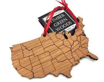 United States of America Outline Ornament - Timber Green Woods State Cutout Collection - USA