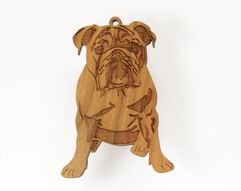 Bulldog Ornament from Timber Green Woods. Personalize it with Name Engraving. Made in the U.S.A! - Cherry Wood