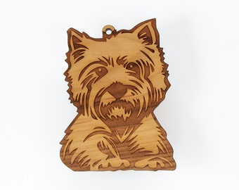 """West Highland Terrier / Westie Ornament from Timber Green Woods. Personalize it! Made in the U.S.A! - Cherry Wood (ornament """"Westie 'B'"""")"""