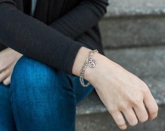 Silver Chain Bracelet, Yoga Jewelry, Om Bracelet Double Strand