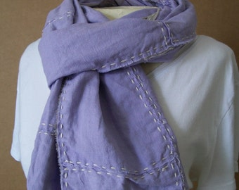 Reclaimed Lavender Linen Scarf, Boro / Sashiko Stitched