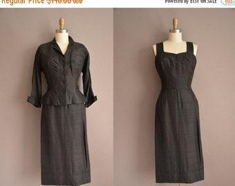 20% OFF SHOP SALE... 50s black silk dress and jacket vintage set / vintage 1950s dress