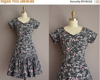 20% OFF SHOP SALE... 50s novelty cotton print mermaid skirt vintage dress / vintage 1950s dress