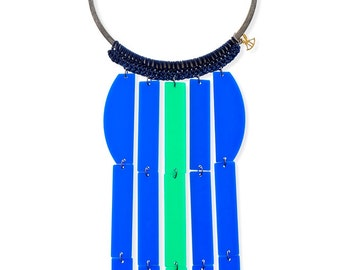 Oversize Necklace, Big statement necklace, long choker necklace, Waterfall blue and greeen modern fashion jewelry, unique necklace