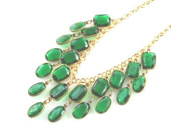 Crystal Chandelier bib Necklace, Emerald Statement Necklace, Green vintage style jewelry