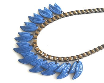 Blue Statement Necklace, Leaf Necklace, Retro Jewelry Metal Bib Necklace, Massive Chain Unique Necklace for her Something Blue