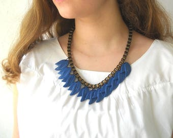 Something Blue, Blue Wedding Necklace, Leaf Necklace, Blue wedding Jewelry Metal Chain Unique Necklace for Bridal