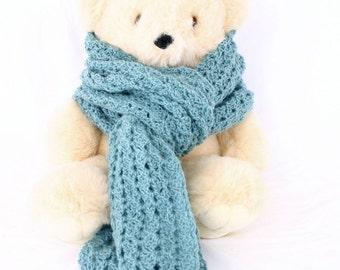 Crochet scarf blue green soft neckwarmer long wide neckwear fashion accessory winter wrap water color sea green neck warmer shell stitch
