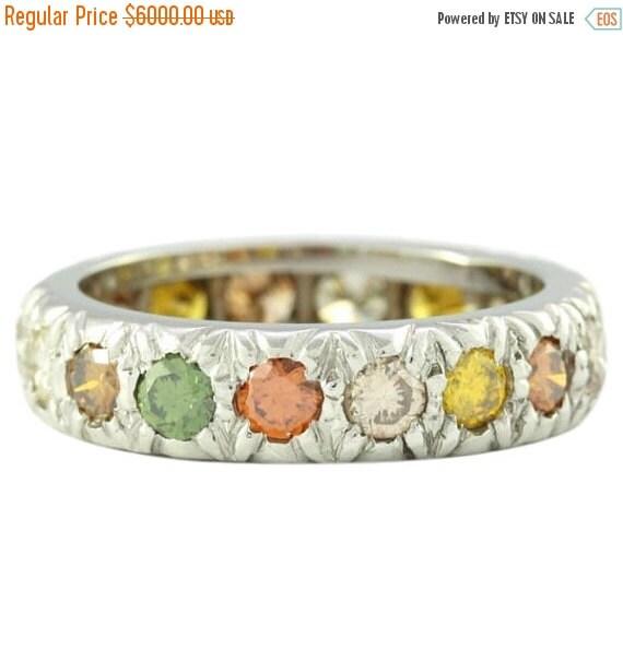 30% Off Winter Sale Fancy Colored Diamond Platinum Eternity Ring
