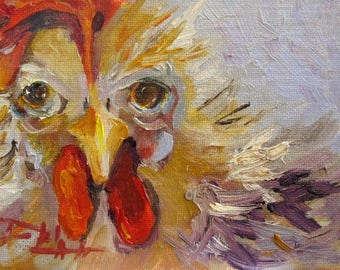 Rooster No.14 5x7 chicken oil painting Art by Delilah