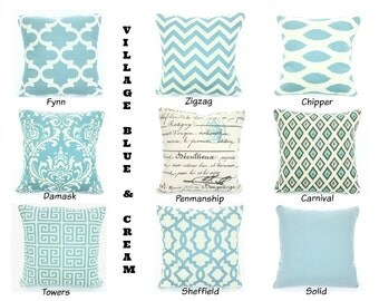 Blue Throw Pillow Covers, Blue Pillows, Cushions, Village Blue Cream, Chevron Ikat Damask French Script, Couch, One or More ALL SIZES