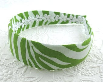 Fabric Covered Headband ~ Lime Green Zebra Animal Print Womens Adult Girls Hard Plastic Fabric Covered Headband