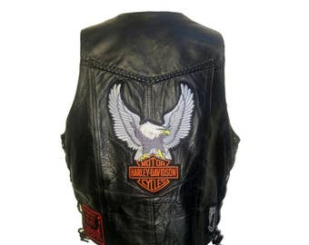 Mens Biker Vest Vintage MOB Genuine Leather Harley Davidson Motor Cycles Eagle Patch Vest with MMA of Arizona POW Mia Patches