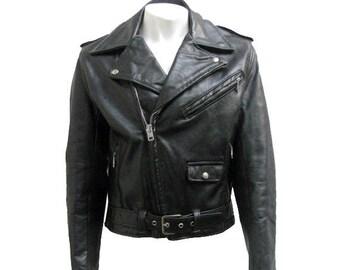 Vintage 1960s Motorcycle Jacket Mens Montgomery Wards Black Leather Biker Jckt Mns US Size 40
