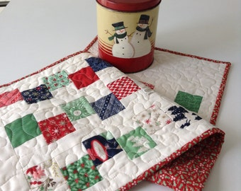 """QUILTED CHRISTMAS TABLERUNNER, Stepping Stones Pattern, Traditional  Christmas Fabrics, Tablemat,  Christmas  Decor, 13"""" x 38"""",  Handmade"""