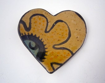 Valentine Gift Heart - Girlfriend Gift - Spoon Rest - Ring Holder - Stoneware Clay Heart - Gift for Her - Small Tray, Boyfriend Gift, Yellow