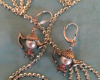 Tea Pot earrings, pair, Pearl with pink stones and silver findings, TEA POTS pair of leverback earrings, GIFT
