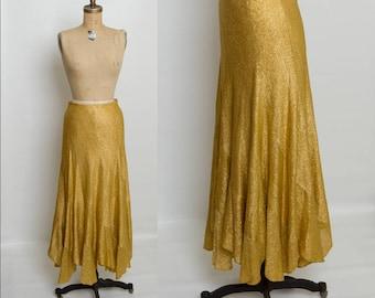vintage 1970s golden sparkle long bias cut skirt