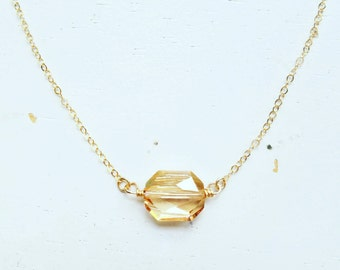Golden Graphic Crystal Necklace - gold swarovski golden shadow geo pendant gold filled chain - simple modern wedding jewelry - adenandclaire