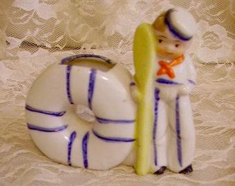 Vintage Sailor Boy Childs Toothbrush Holder
