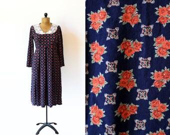 vintage dress 90's romantic navy blue floral print lace collar preppy 1990's women's clothing size medium m
