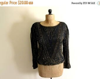 SALE ON SALE Sale vintage blouse 80s beaded womens clothing 1980s top shirt black gold beadwork size large l