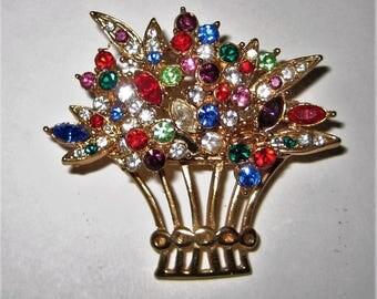 Sweet Chic Rhinestine Flower basket Brooch Pin