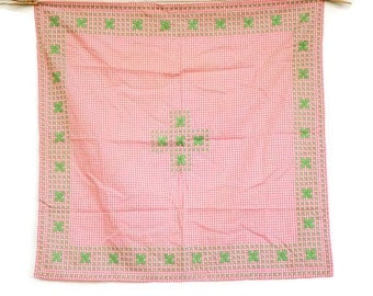 Vintage 50s Emroidered Pink Gingham Tablecloth/Retro/Shabby Chic/Farmhouse  Decor