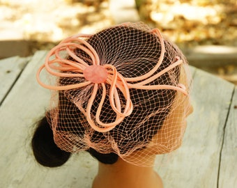 Vintage 50s-60s Pink Facinator Hat/Retro/Mid Century/Wedding/High Fashion