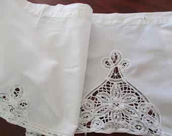 shabby chic white cotton valance- lace, battenburg