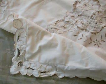 vintage beige cotton PILLOW SHAM - standard, cutout flowers, lace