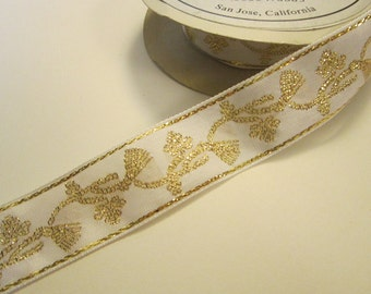 4.875 yards vintage woven ribbon - Europa Imports - 1 inch - rayon/metallic - white with GOLD tassels