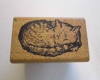 vintage rubber stamp - sleeping CAT - tabby cat, All Night Media