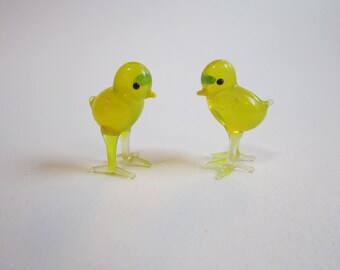 2 vintage blown glass miniature CHICKS - blown glass chicks - mini glass chick - glass birds - blown glass animals - as is